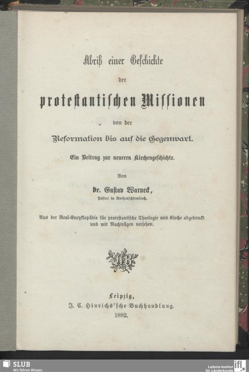 Vorschaubild von Abriß einer Geschichte der protestantischen Missionen von der Reformation bis auf die Gegenwart