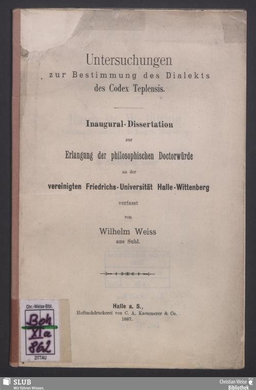 Vorschaubild von Untersuchungen zur Bestimmung des Dialektes des Codex Teplensis