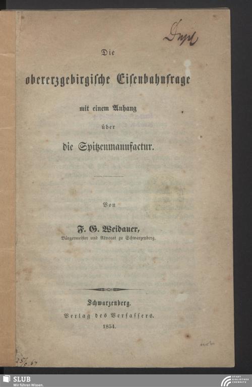 Vorschaubild von Die obererzgebirgische Eisenbahnfrage