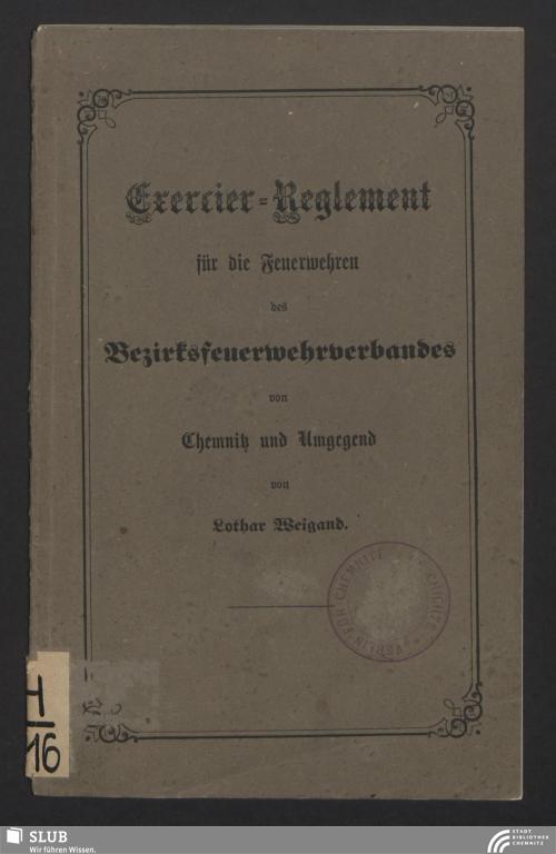 Vorschaubild von Exercier-Reglement für die Feuerwehren des Bezirksfeuerwehrverbandes von Chemnitz und Umgegend