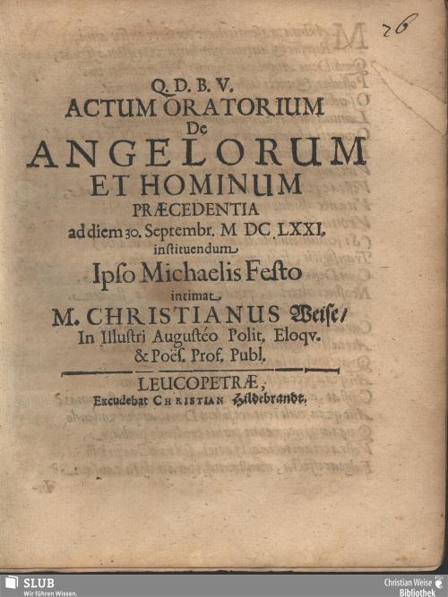 Vorschaubild von Actum Oratorium De Angelorum Et Hominum Praecedentia