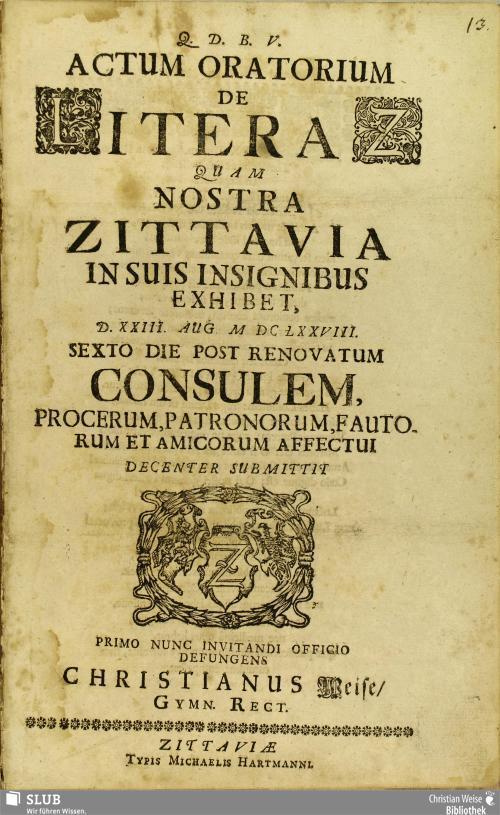 Vorschaubild von Actum Oratorium De Litera Z Quam Nostra Zittavia In Suis Insignibus Exhibet