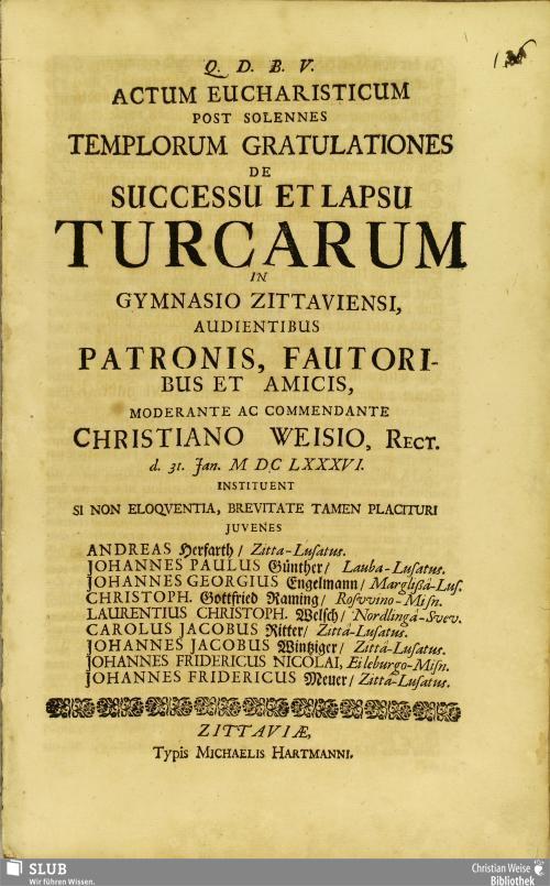 Vorschaubild von Actum Eucharisticum Post Solennes Templorum Gratulationes De Successu Et Lapsu Turcarum