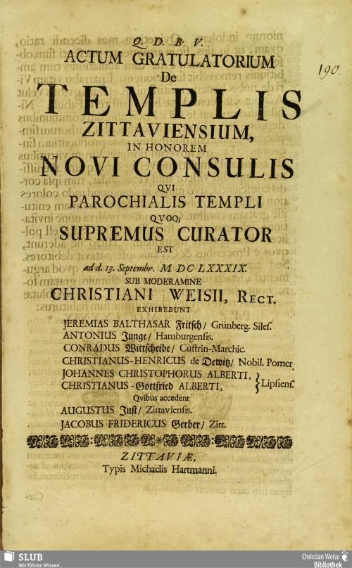 Vorschaubild von Actum Gratulatorium De Templis Zittaviensium