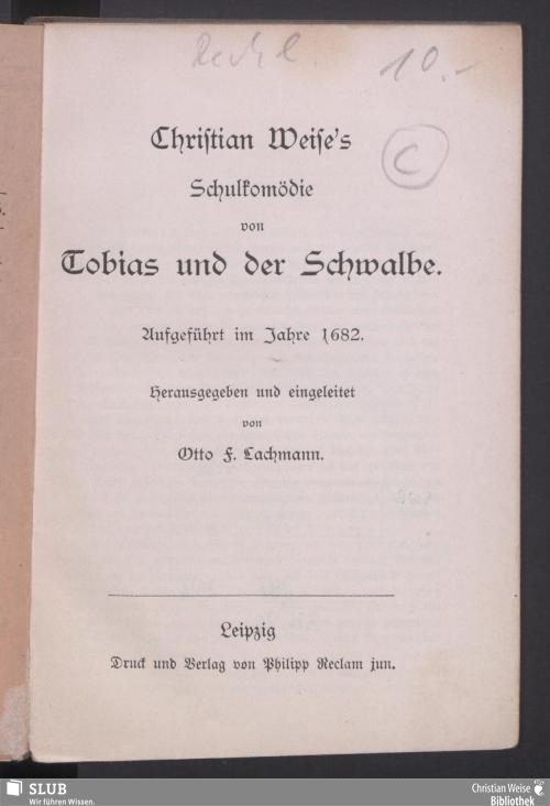 Vorschaubild von Christian Weise's Schulkomödie von Tobias und der Schwalbe