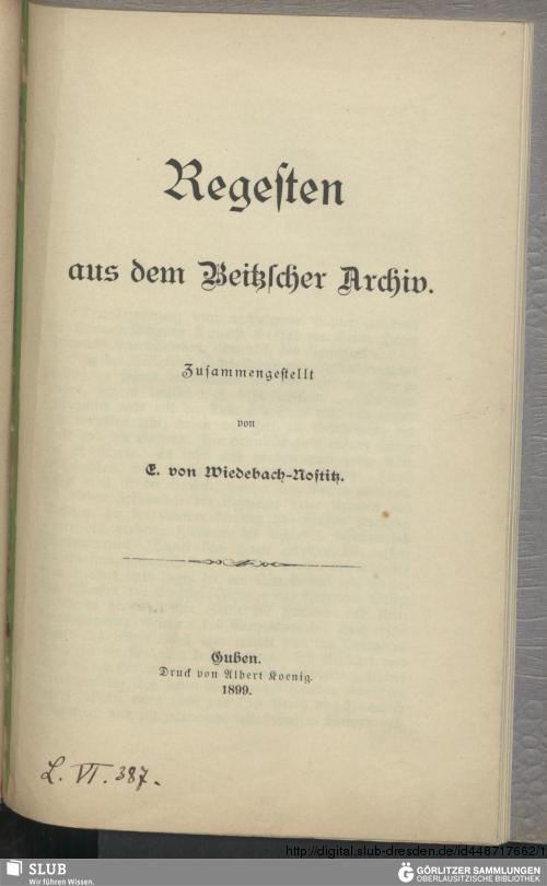 Vorschaubild von Regesten aus dem Beitzscher Archiv