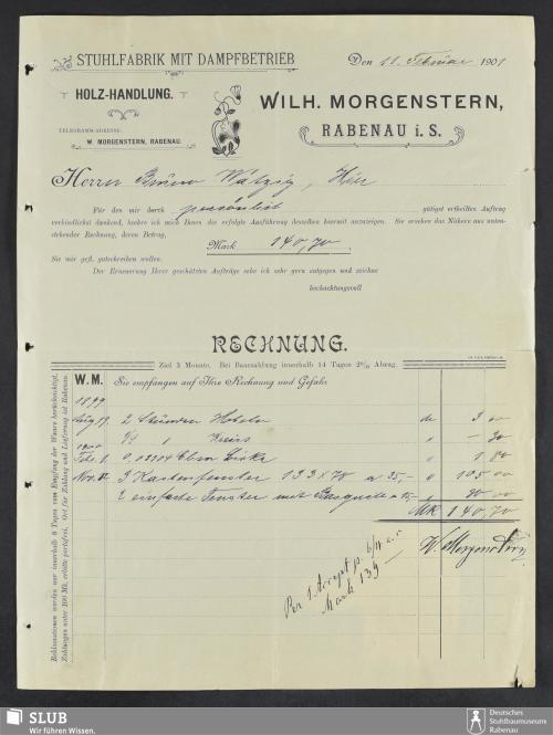 Vorschaubild von Wilh. Morgenstern, Rabenau i.S., Stuhlfabrik mit Dampfbetrieb, Holzhandlung