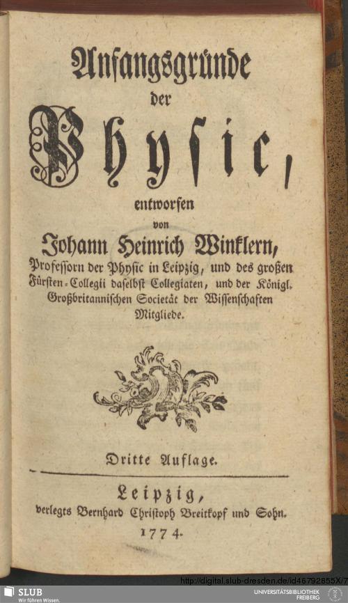 Vorschaubild von Anfangsgründe der Physic