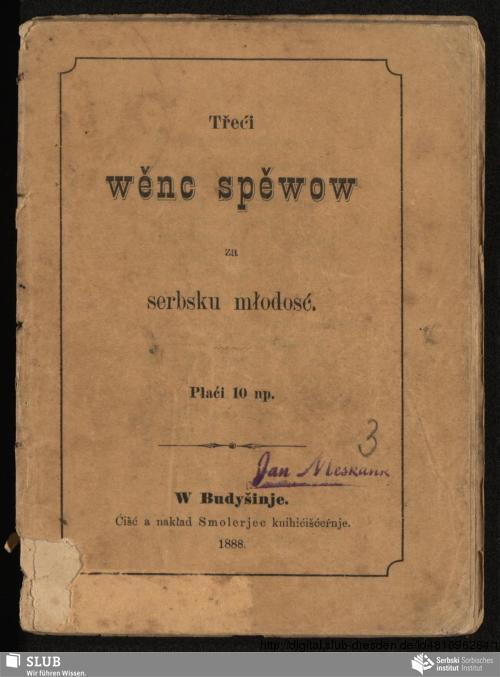 Vorschaubild von Třeći wěnc spěwow za serbsku młodosć
