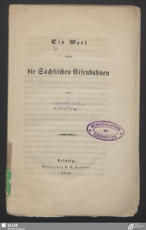 Vorschaubild von Ein Wort über die Sächsischen Eisenbahnen