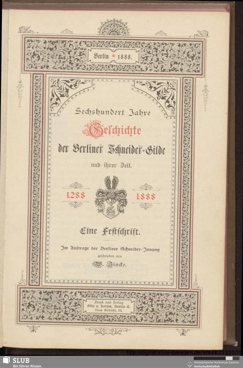 Vorschaubild von Sechshundert Jahre Geschichte der Berliner Schneider-Gilde und ihrer Zeit