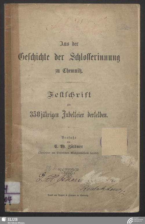 Vorschaubild von Aus der Geschichte der Schlosserinnung zu Chemnitz
