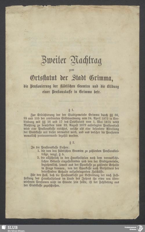 Vorschaubild von Zweiter Nachtrag zum Ortsstatut der Stadt Grimma