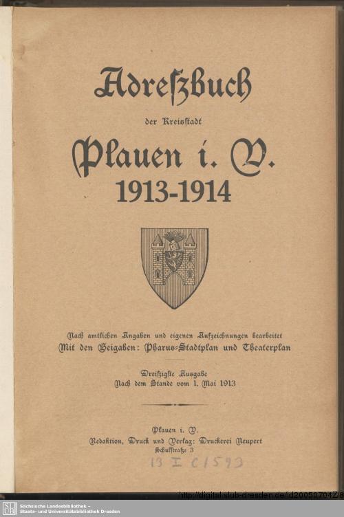 Vorschaubild von [Adreßbuch der Kreisstadt Plauen i. V.]