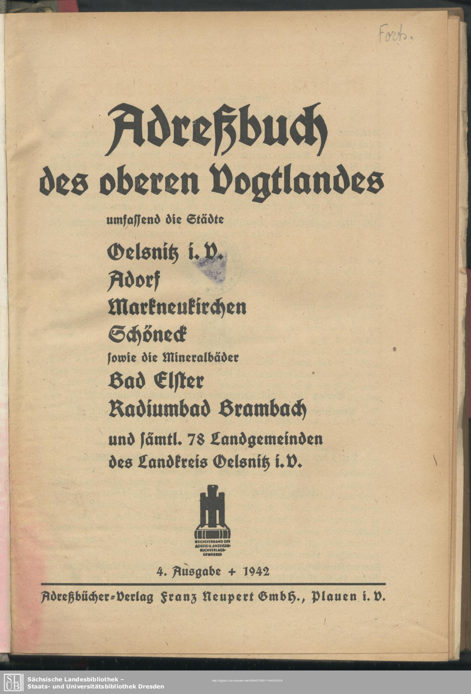 Adressbuch Oberes Vogtland 1942