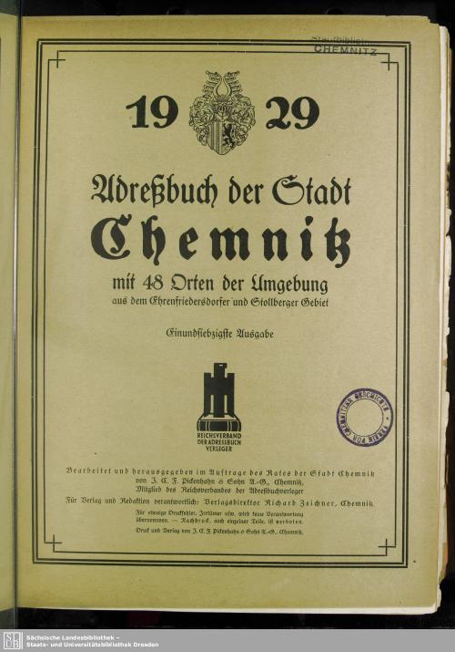 Vorschaubild von [Adreßbuch der Stadt Chemnitz]