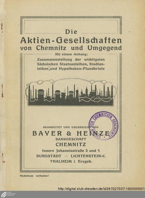 Vorschaubild von [Die Aktiengesellschaften von Chemnitz und Umgebung ...]