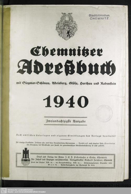 Vorschaubild von [Chemnitzer Adreßbuch]