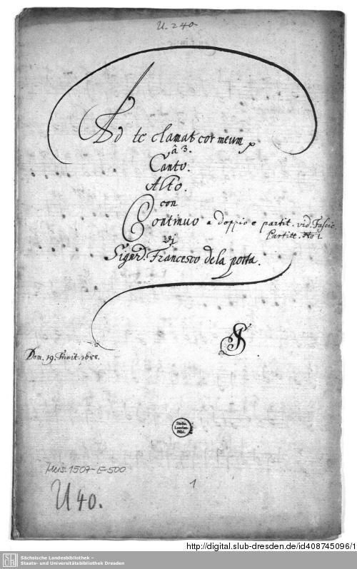 Vorschaubild von Ad te clamat cor meum - Mus.1507-E-500