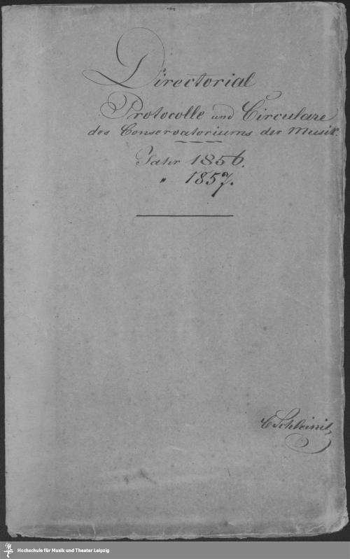 Vorschaubild von Directorial Protocolle und Circulare des Conservatoriums der Musik