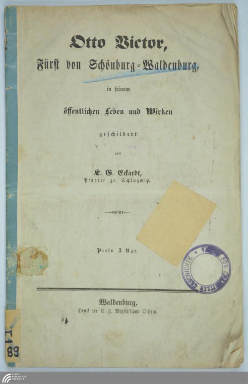 Vorschaubild von Otto Victor, Fürst von Schönburg-Waldenburg in seinem öffentlichen Leben und Wirken