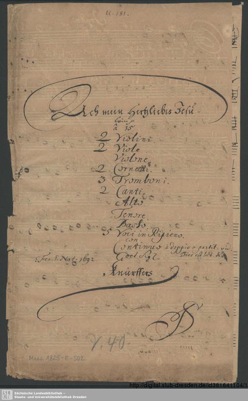 Vorschaubild von Ach mein herzliebes Jesulein mach dir ein rein sanft Bettelein - Mus.1825-E-502