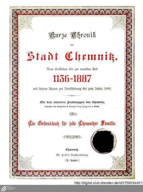 Vorschaubild von Kurze Chronik der Stadt Chemnitz