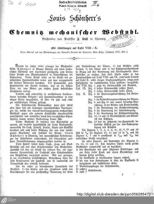 Vorschaubild von Louis Schönherr's in Chemnitz mechanischer Webstuhl