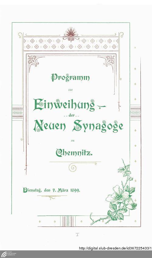 Vorschaubild von Programm zur Einweihung der Neuen Synagoge zu Chemnitz