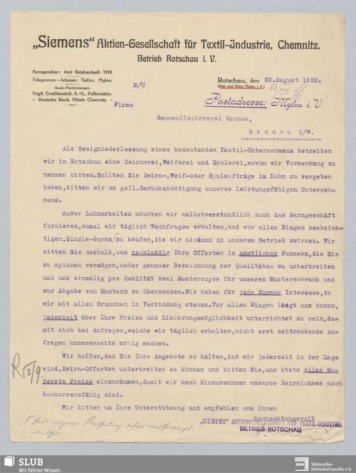"""Vorschaubild von """"Siemens"""" AG für Textil-Industrie, Chemnitz, Betrieb Rotschau i. V."""