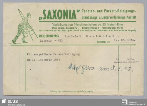 """Vorschaubild von """"Saxonia"""", Fenster- und Parkett-Reinigungs-, Staubsauge- und Leiterverleihungs-Anstalt Max Loose, Leipzig"""