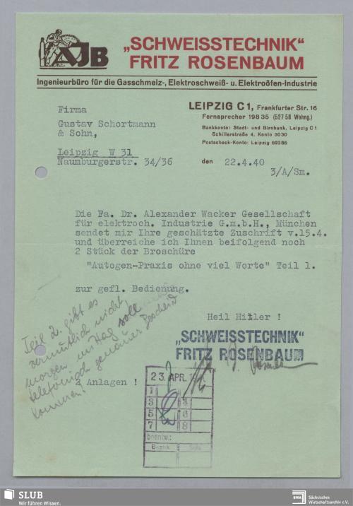 """Vorschaubild von """"Schweisstechnik"""" Fritz Rosenbaum, Ingenieurbüro für die Gasschmelz-, Elektroschweiß- u. Elektroöfen-Industrie, Leipzig"""