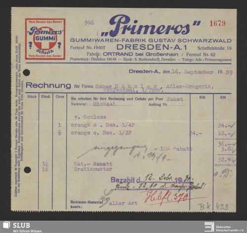 """Vorschaubild von """"PrimEros"""", Gustav Schwarzwald, Gummi-Waren-Fabrik, Dresden"""