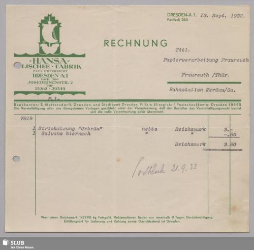 """Vorschaubild von """"Hansa"""" Klischee-Fabrik, Paul Unverricht, Dresden-A."""