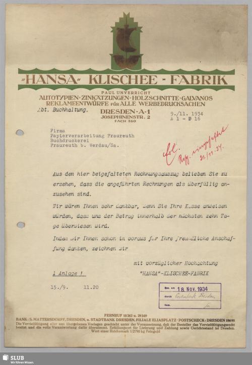 """Vorschaubild von """"Hansa"""" Klischee-Fabrik, Paul Unverricht, Dresden-A"""
