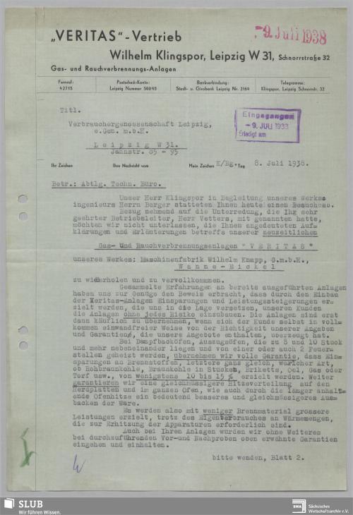 """Vorschaubild von """"Veritas""""-Vertrieb Wilhelm Klingspor, Leipzig, Gas- und Rauchverbrennungs-Anlagen"""