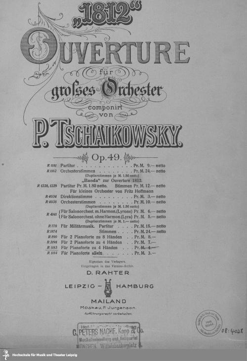 """Vorschaubild von """"1812"""" Ouverture für grosses Orchester"""